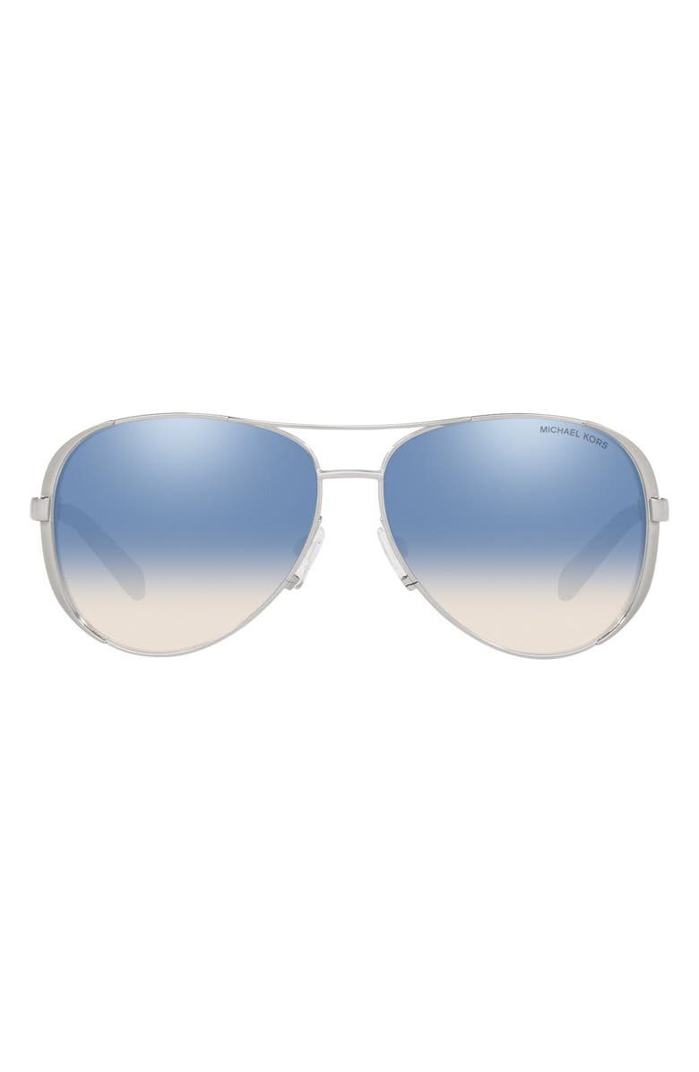 MICHAEL KORS Collection 59mm Aviator Sunglasses, Main, color, SILVER