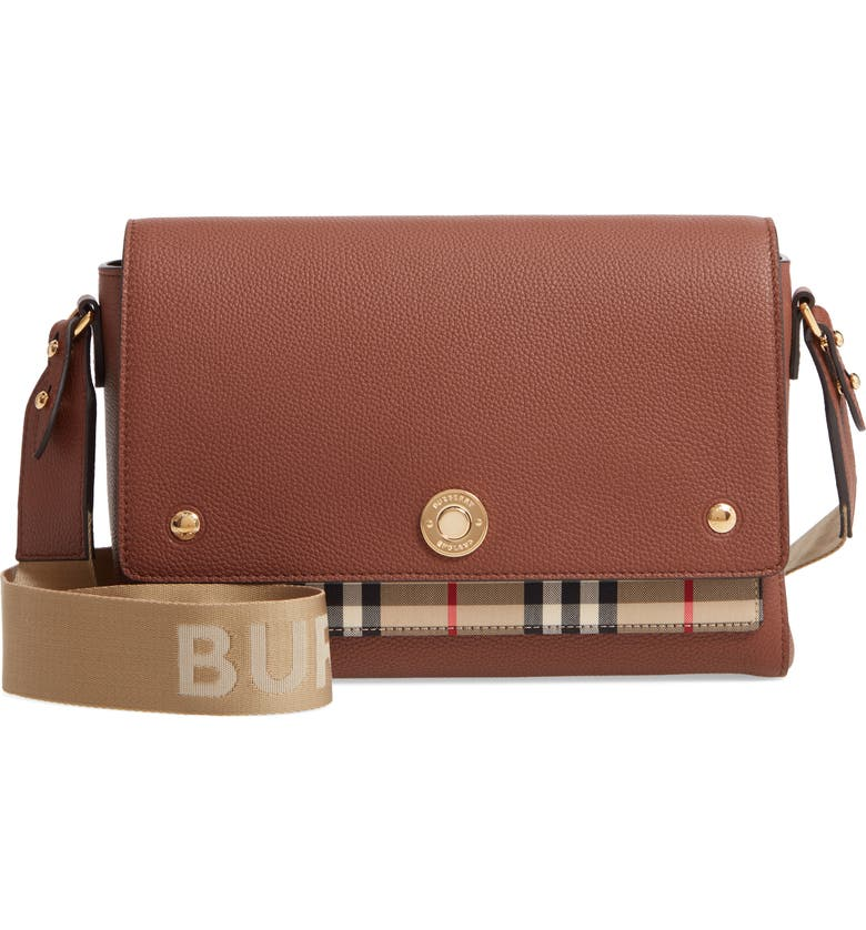BURBERRY Note Leather & Vintage Check Crossbody Bag, Main, color, TAN