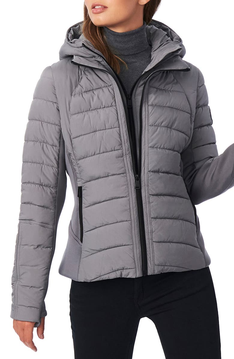BERNARDO Hooded Quilted Water Repellent Jacket, Main, color, CHARCOAL