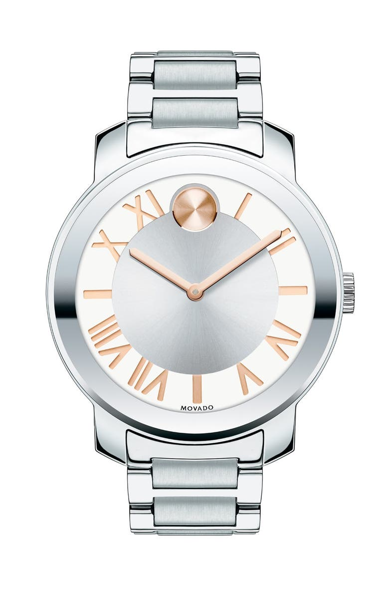 MOVADO 'Bold' Roman Numeral Index Bracelet Watch, 39mm, Main, color, 040