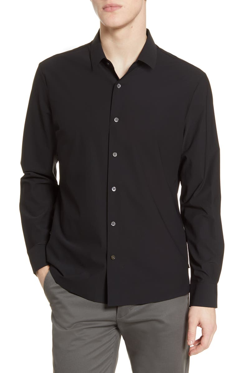 7 DIAMONDS Young Americans Slim Fit Button-Up Performance Shirt, Main, color, BLACK