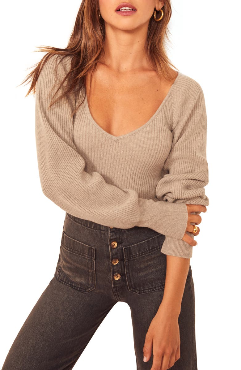 REFORMATION Hart Wide Neck Sweater, Main, color, OATMEAL