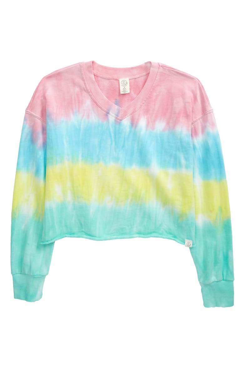 TREASURE & BOND Kids' Tie Dye Crop French Terry Top, Main, color, CORAL CAMELIA RAINBOW TIE DYE