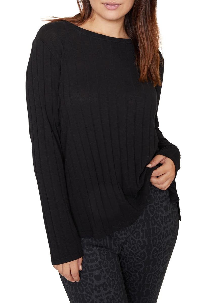 SANCTUARY Aimee Wide Ribbed Long Sleeve Cotton Blend Top, Main, color, 001
