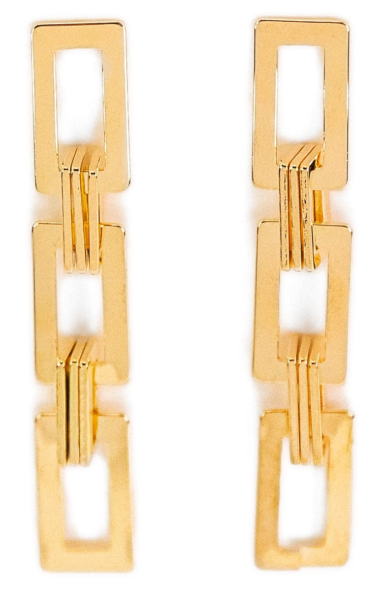PETIT MOMENTS Sunset Chain Link Drop Earrings, Main, color, GOLD