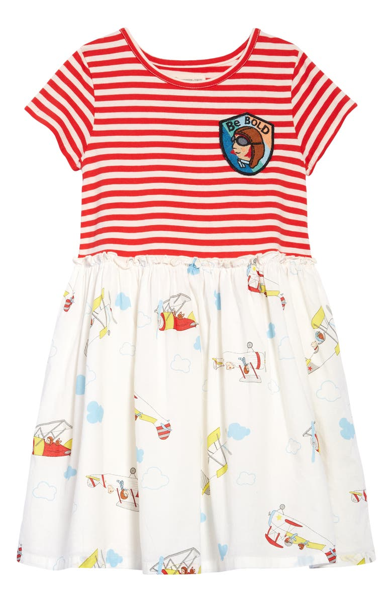 TUCKER + TATE x Smithsonian Kids' Play in the Park Dress, Main, color, IVORY PLANES- RED STRIPE