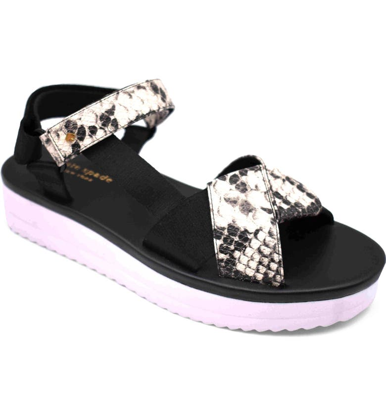 KATE SPADE NEW YORK dotty sandal, Main, color, BLACK LEATHER