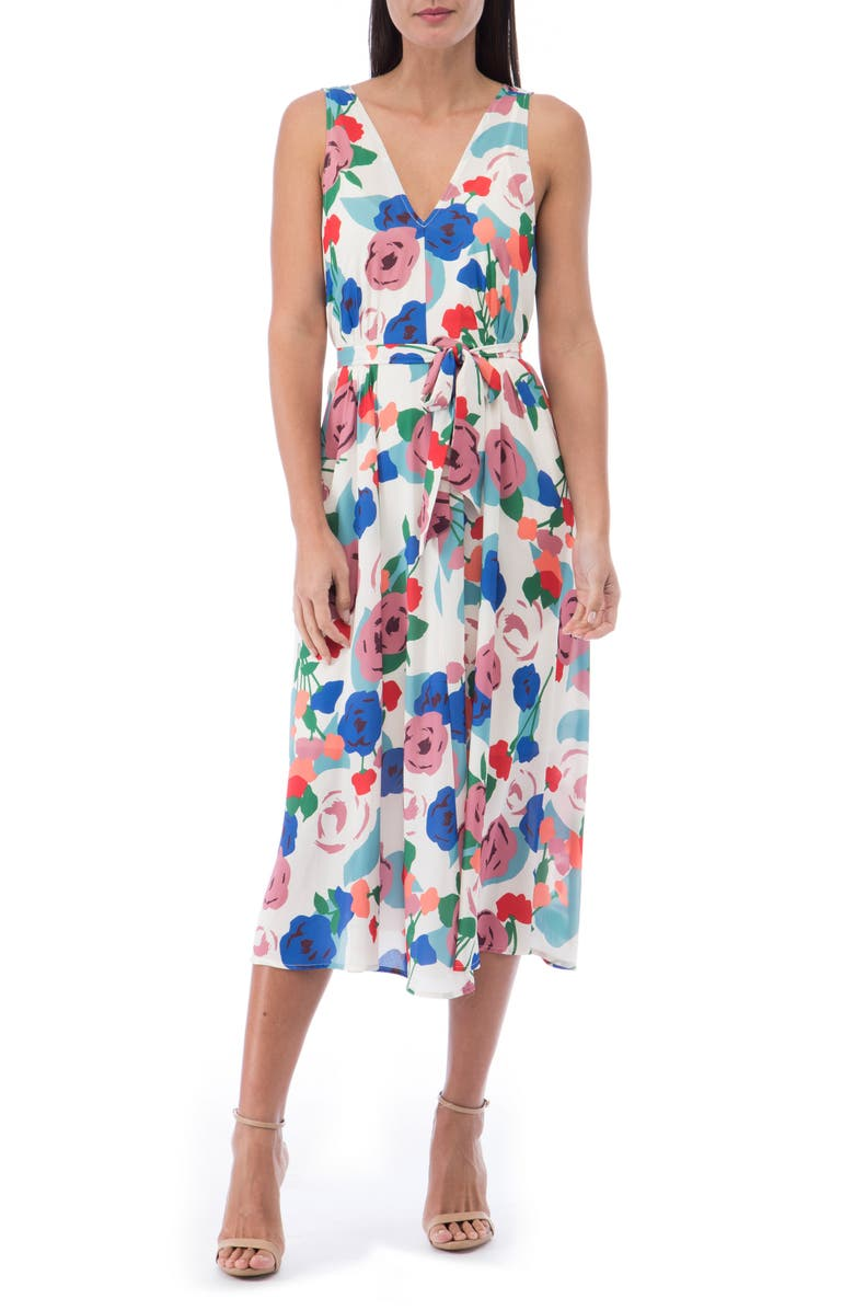 BOBEAU Riley V-Neck Pleat Dress, Main, color, PAINTED FLORAL
