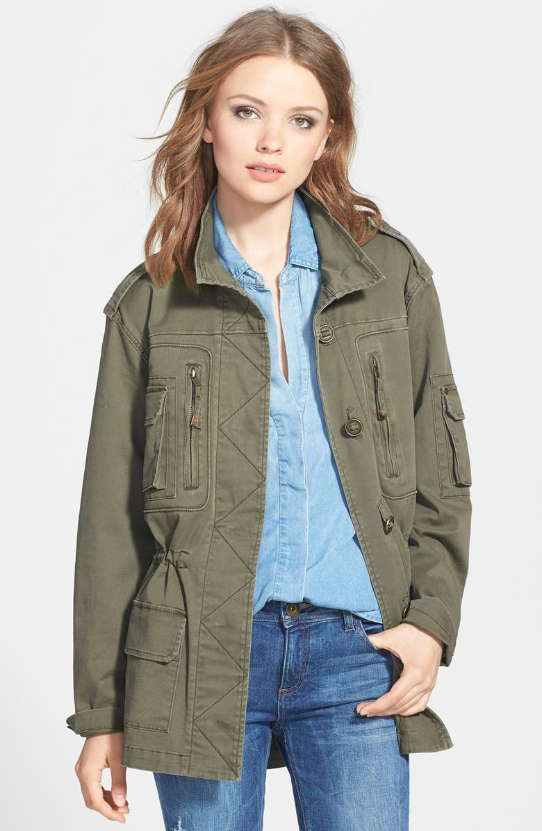 SAM EDELMAN Brushed Twill Military Jacket, Main, color, 300
