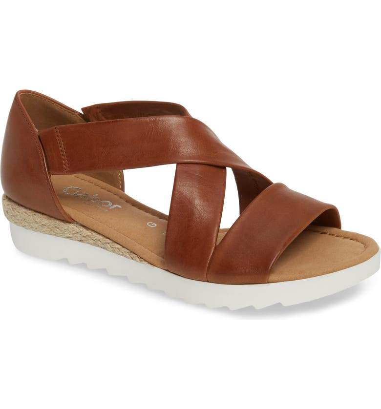 GABOR Cross Strap Sandal, Main, color, BROWN LEATHER