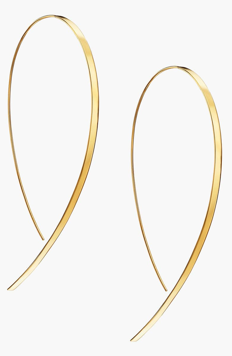 LANA JEWELRY 'Hooked On Hoop' Large Flat Earrings, Main, color, YELLOW GOLD