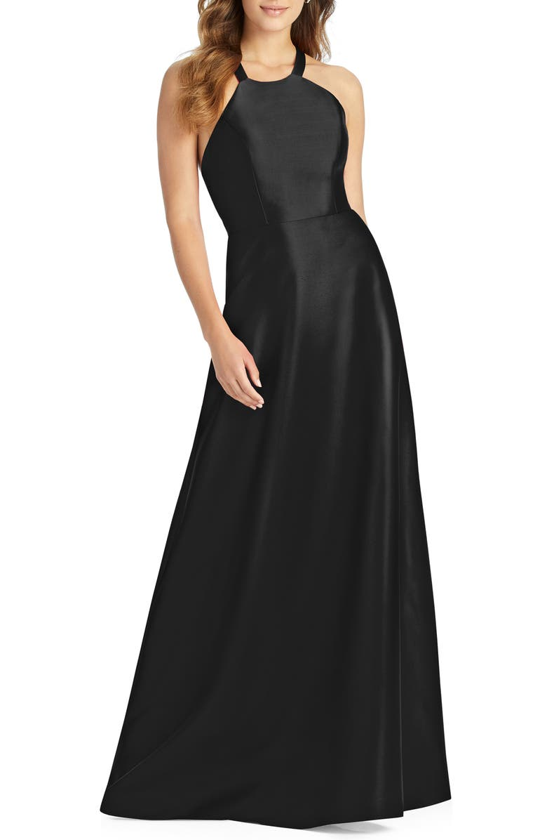 ALFRED SUNG Lace-Up Back Satin Twill A-Line Gown, Main, color, Black