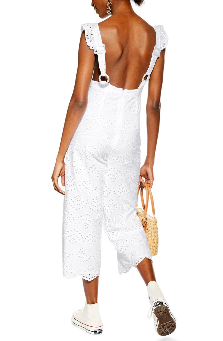 TOPSHOP Embroidered Ruffle Jumpsuit, Main, color, 101