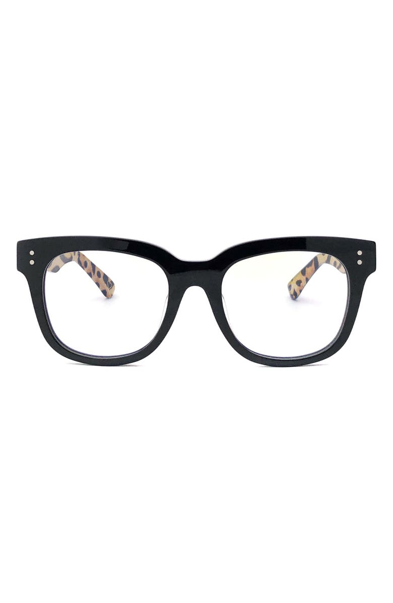 AIMEE KESTENBERG Houston 52mm Square Blue Light Blocking Glasses, Main, color, BLACK WITH LEOPARD/ CLEAR