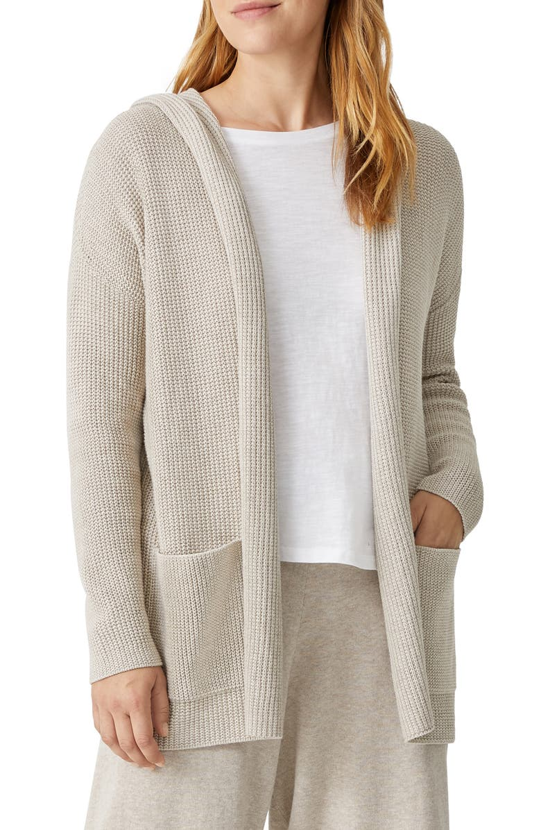 EILEEN FISHER Open Front Organic Cotton Hooded Cardigan, Main, color, MAPLE OAT
