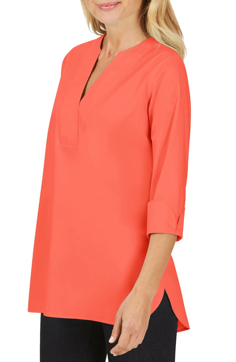 FOXCROFT Vaughn Non-Iron Tunic Top, Main, color, HIBISCUS
