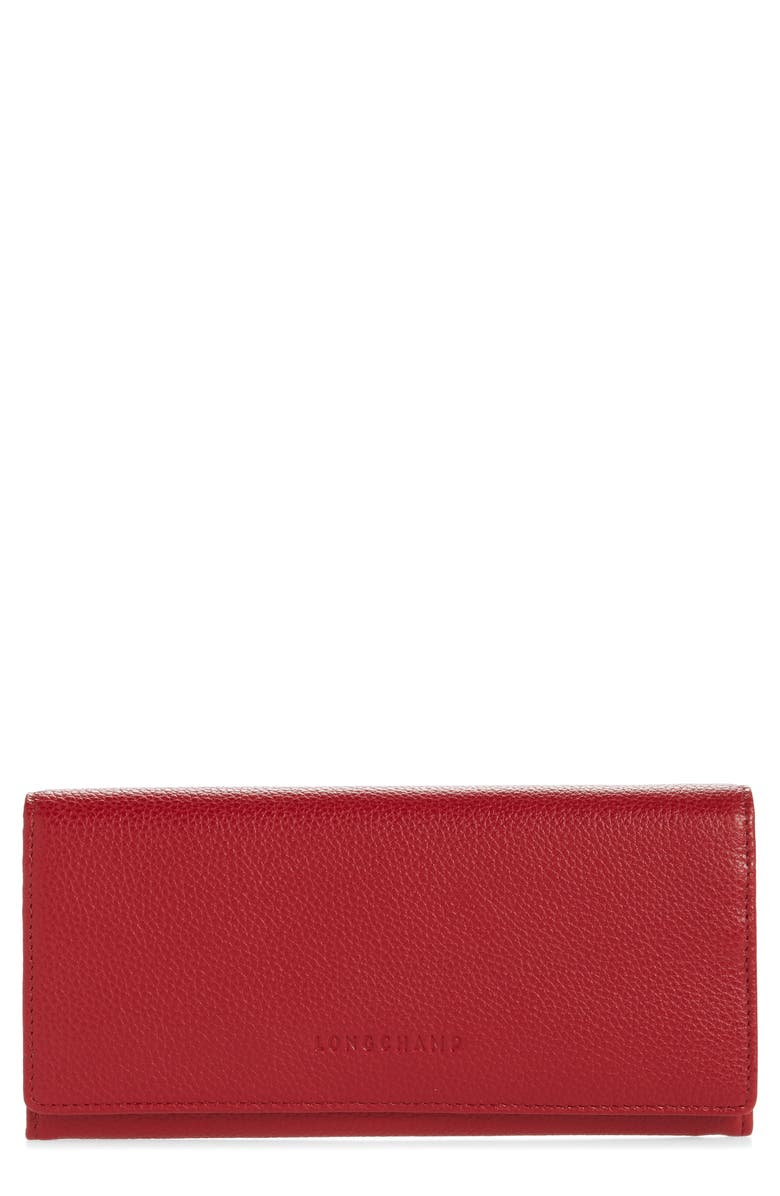 LONGCHAMP Veau Foulonne Continental Wallet, Main, color, RED