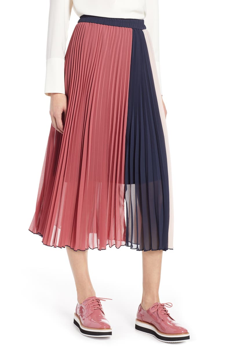 HALOGEN<SUP>®</SUP> x Atlantic-Pacific Colorblock Pleated Midi Skirt, Main, color, PINK- NAVY COLORBLOCK