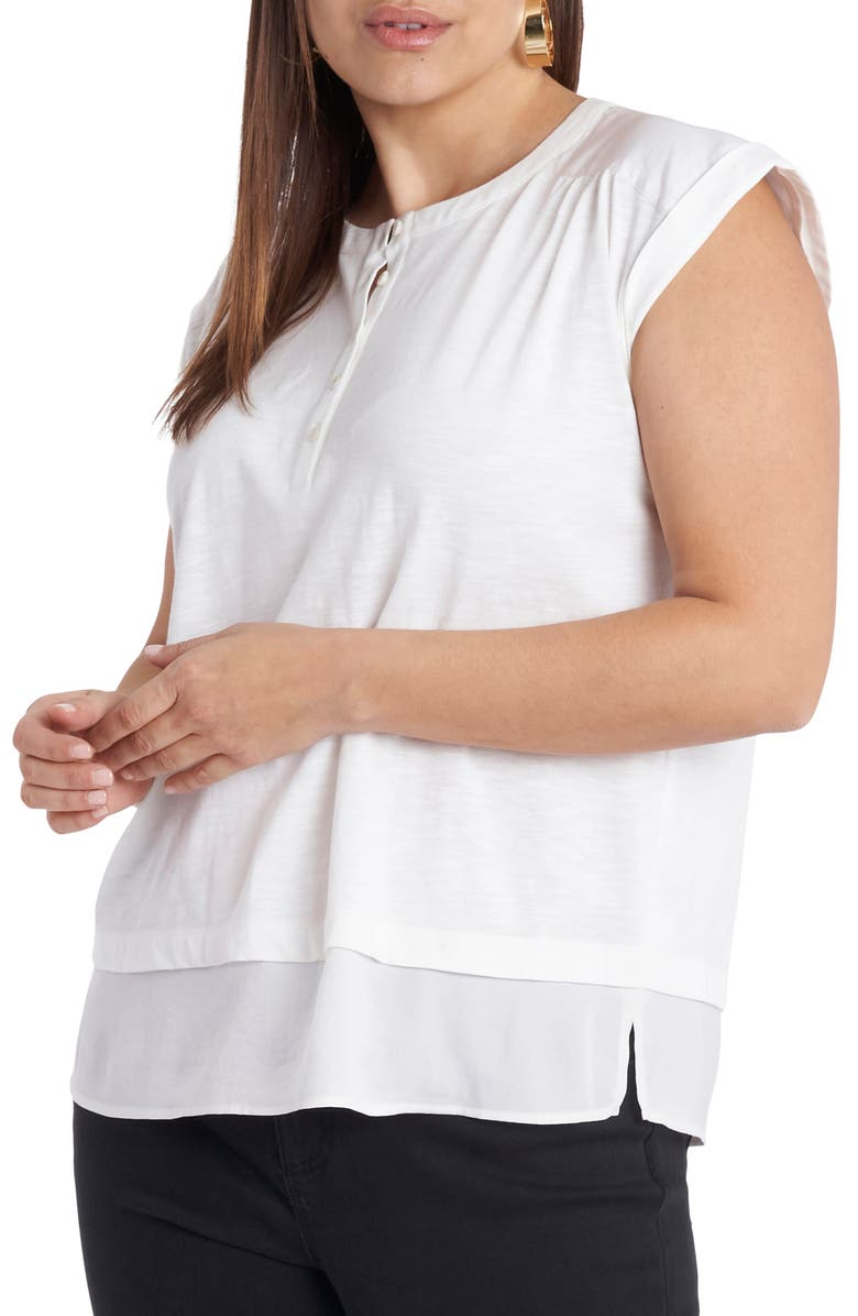 VINCE CAMUTO Mixed Media Layered Henley Top, Main, color, NEW IVORY