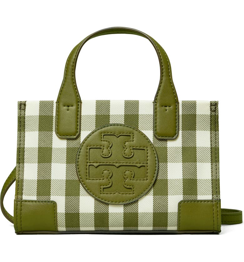 TORY BURCH Micro Ella Recycled Tote, Main, color, LECCIO/NEW IVORY GINGHAM