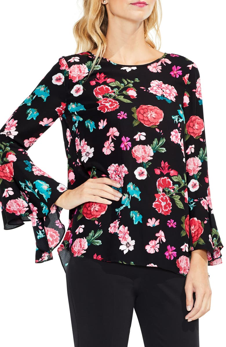 VINCE CAMUTO Floral Heirloom Bell Sleeve Top, Main, color, RICH BLACK