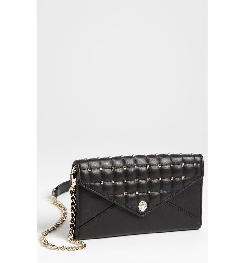 REBECCA MINKOFF Studded Wallet on a Chain, Main, color, Black