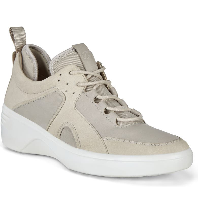 ECCO Soft 7 City Wedge Sneaker, Main, color, GRAVEL LEATHER