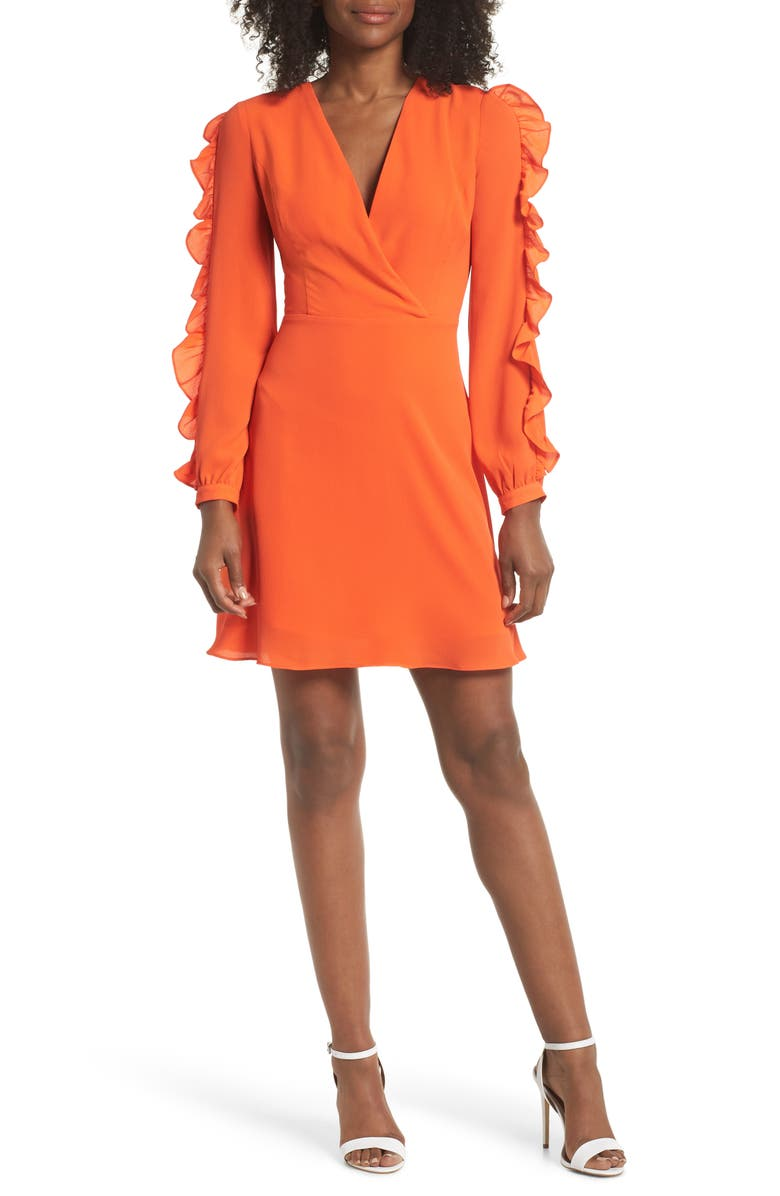 CLOVER AND SLOANE Ruffle Sleeve Dress, Main, color, RED/ ORANGE