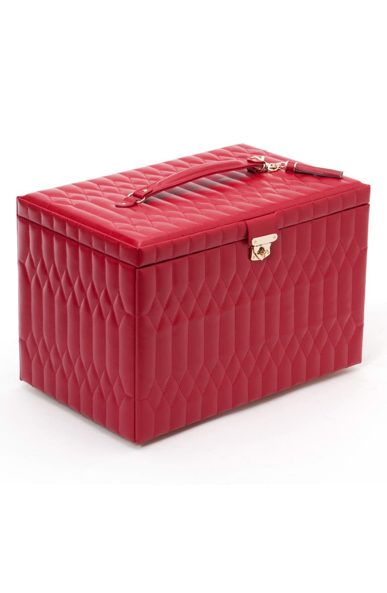 WOLF Caroline Extra Large Leather Jewelry Case, Main, color, RED