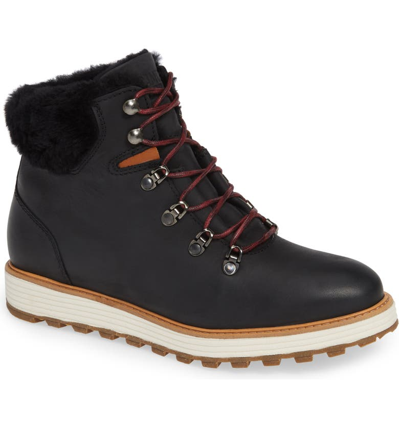 SAMUEL HUBBARD Alpine Water Resistant Genuine Shearling Lined Boot, Main, color, BLACK NUBUCK LEATHER