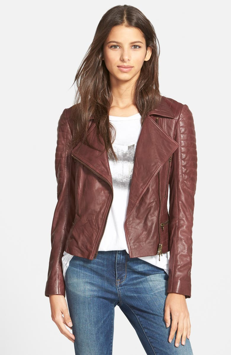 PAM & GELA Quilted Leather Moto Jacket, Main, color, 931