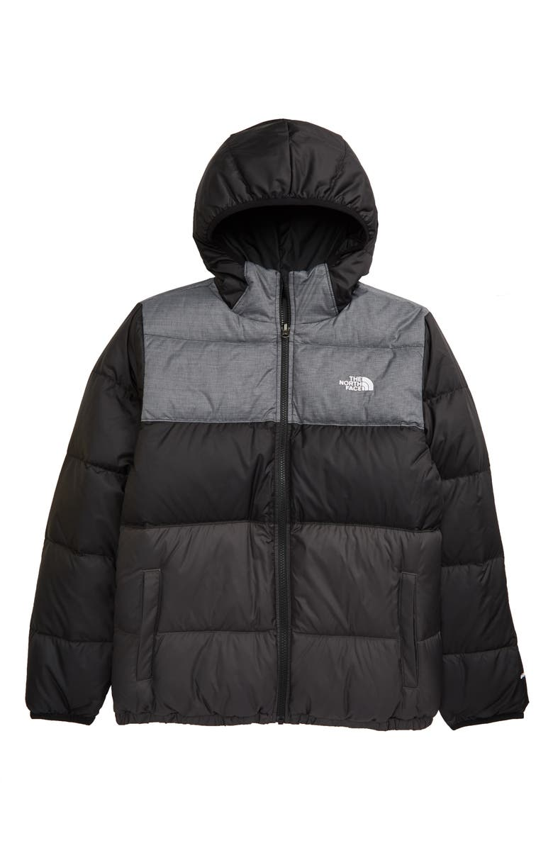 THE NORTH FACE Kids' Moondoggy Water Repellent Reversible Down Jacket, Main, color, BLACK/ GRAPHITE GREY