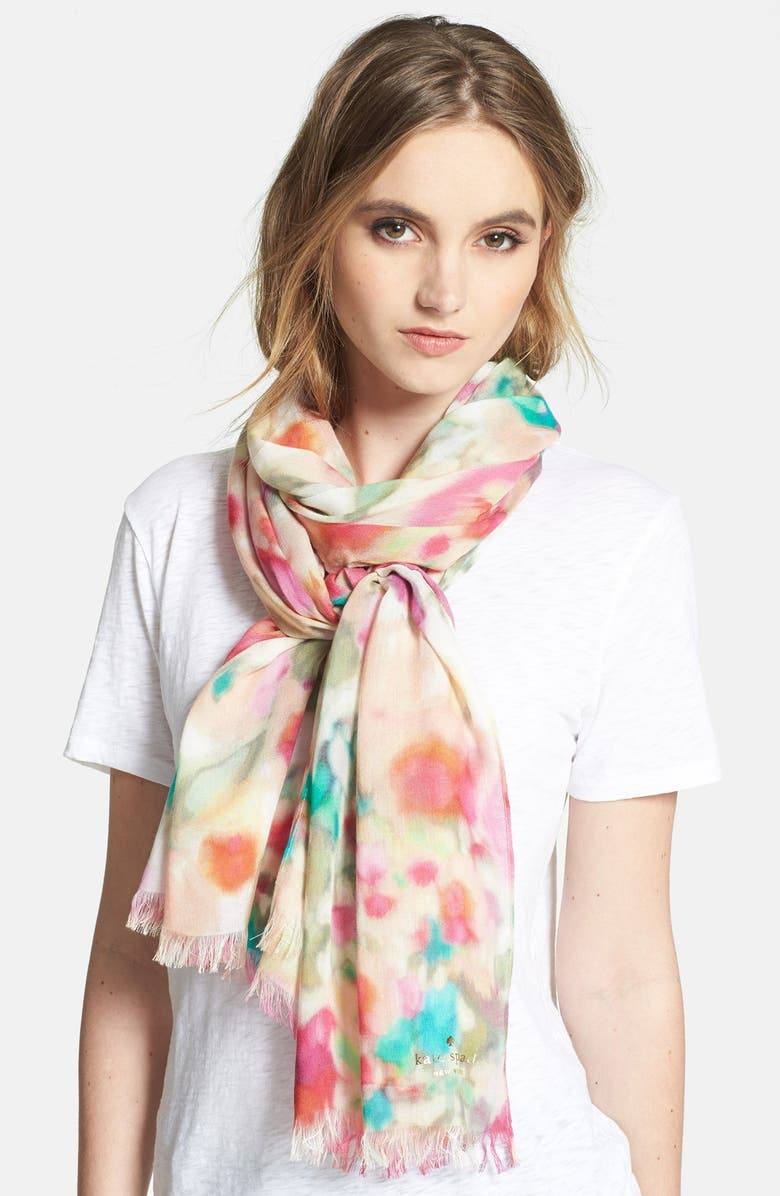 KATE SPADE NEW YORK 'giverny floral' scarf, Main, color, MULTI