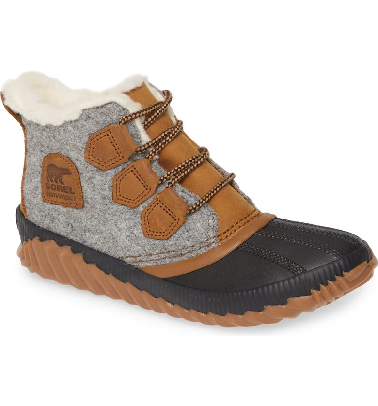 SOREL Out N About Plus Waterproof Bootie, Main, color, QUARRY LEATHER