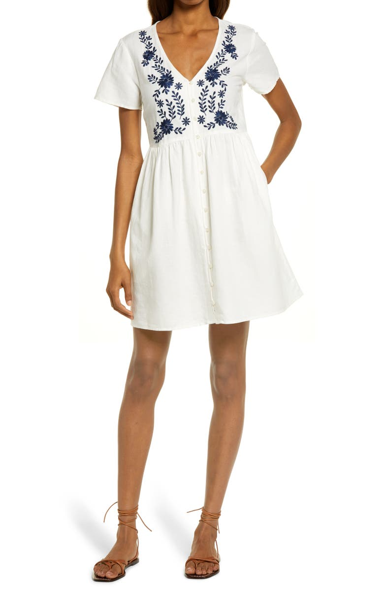 MADEWELL Embroidered Linen Blend Button Front Minidress, Main, color, LIGHTHOUSE