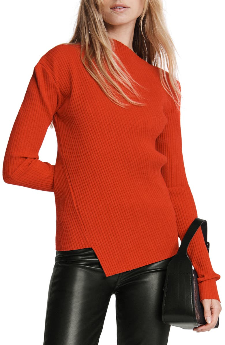 RAG & BONE Jade Asymmetrical Neck Ribbed Top, Main, color, CHERRYRED