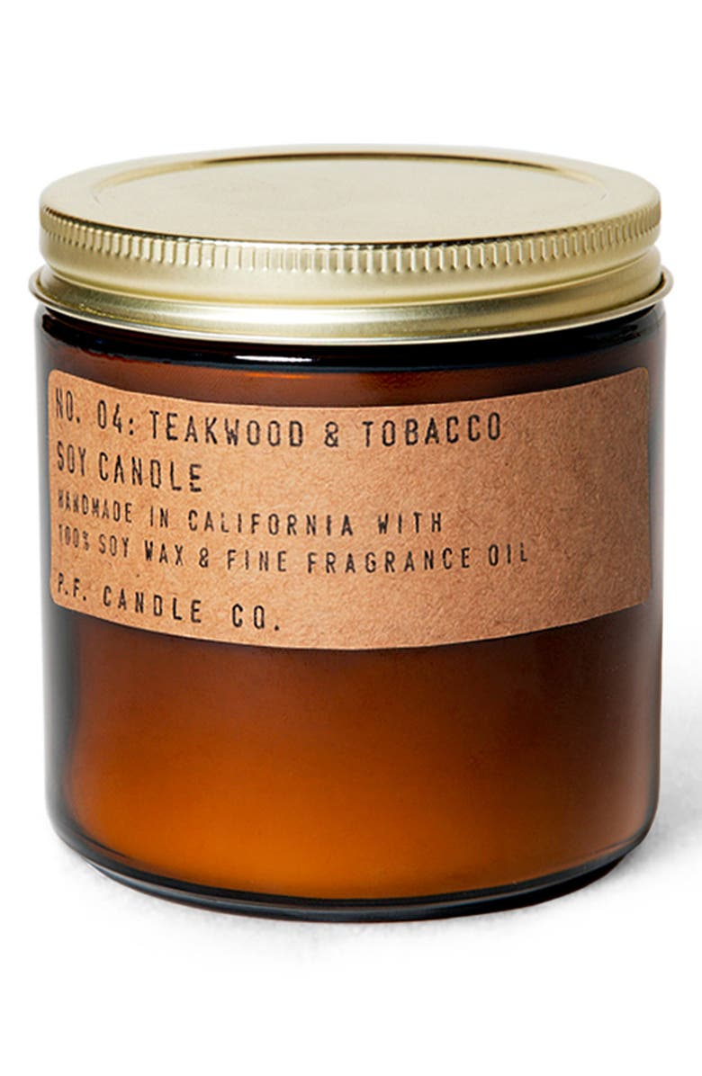 P.F. CANDLE CO. Soy Candle, Main, color, TEAKWOOD AND TOBACCO