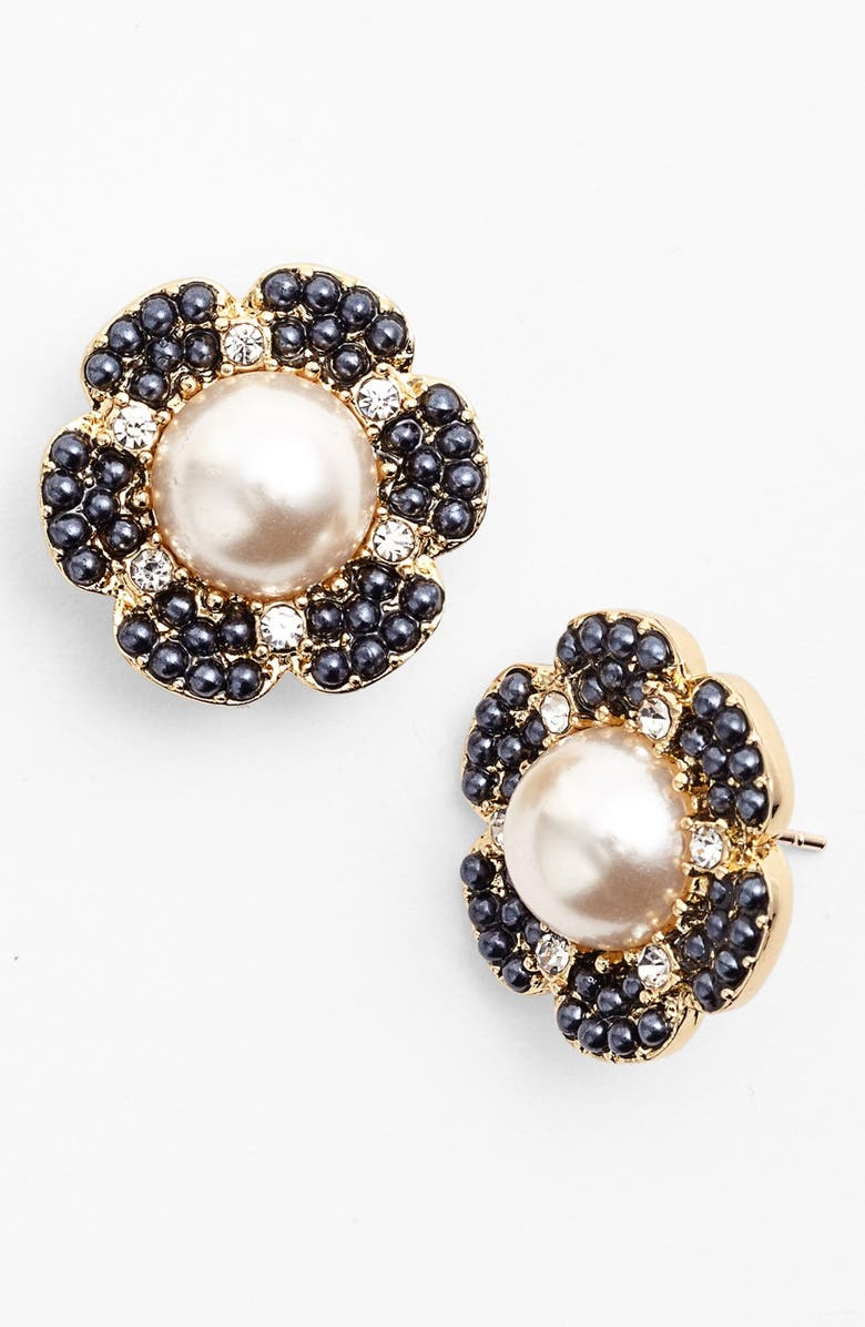KATE SPADE NEW YORK 'park floral' stud earrings, Main, color, NAVY/ CREAM/ GOLD