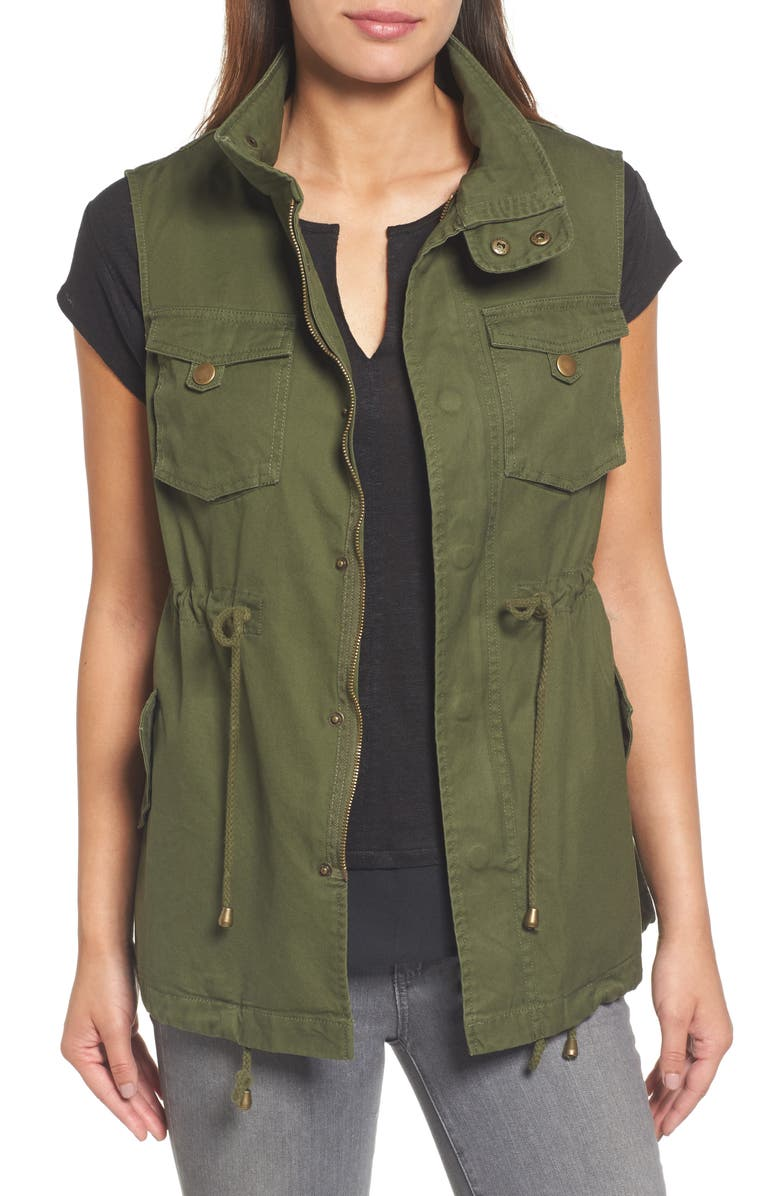PLEIONE Cotton Twill Military Vest, Main, color, 354