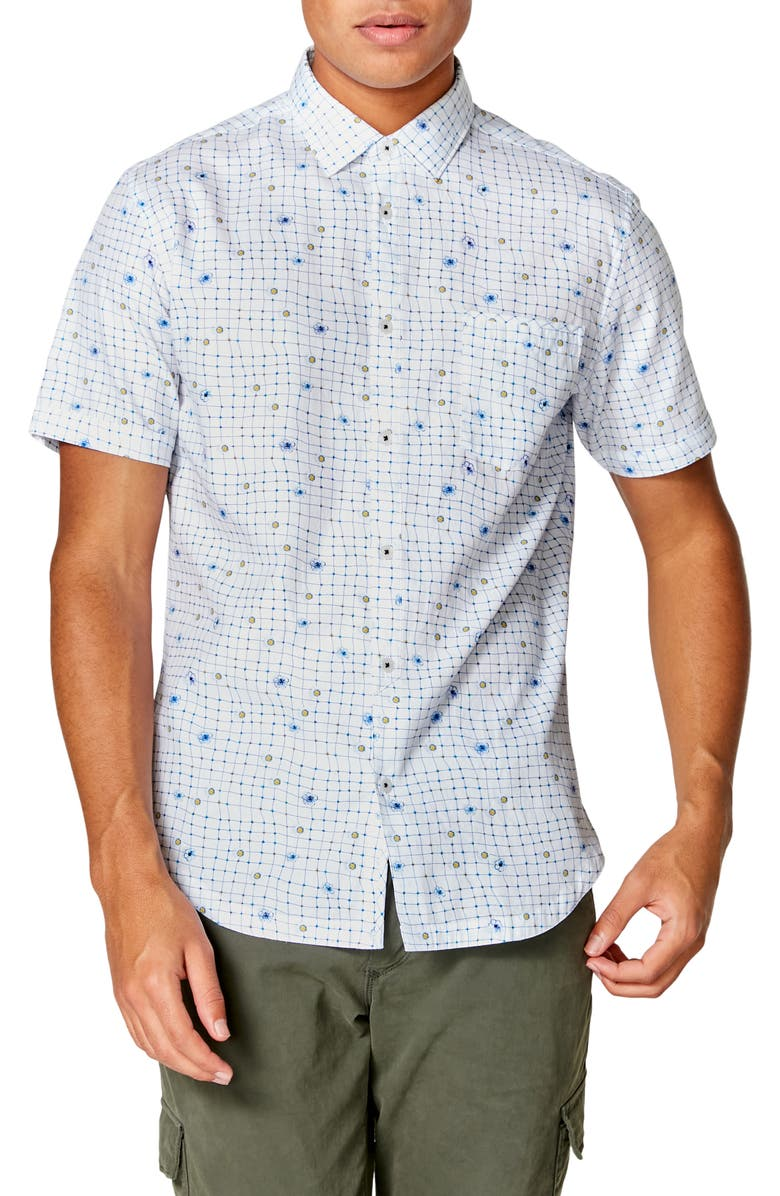 GOOD MAN BRAND On Point Slim Fit Short Sleeve Button-Up Shirt, Main, color, WHITE WRAP DOT FLORAL