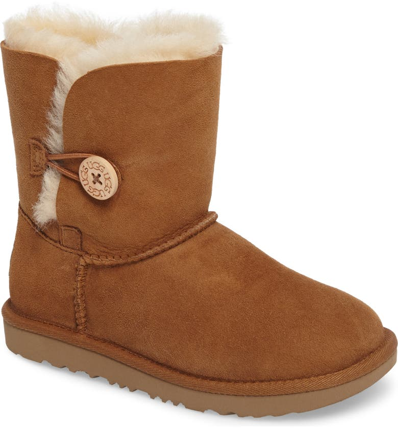 UGG<SUP>®</SUP> Bailey Button II Water Resistant Genuine Shearling Boot, Main, color, CHESTNUT BROWN SUEDE