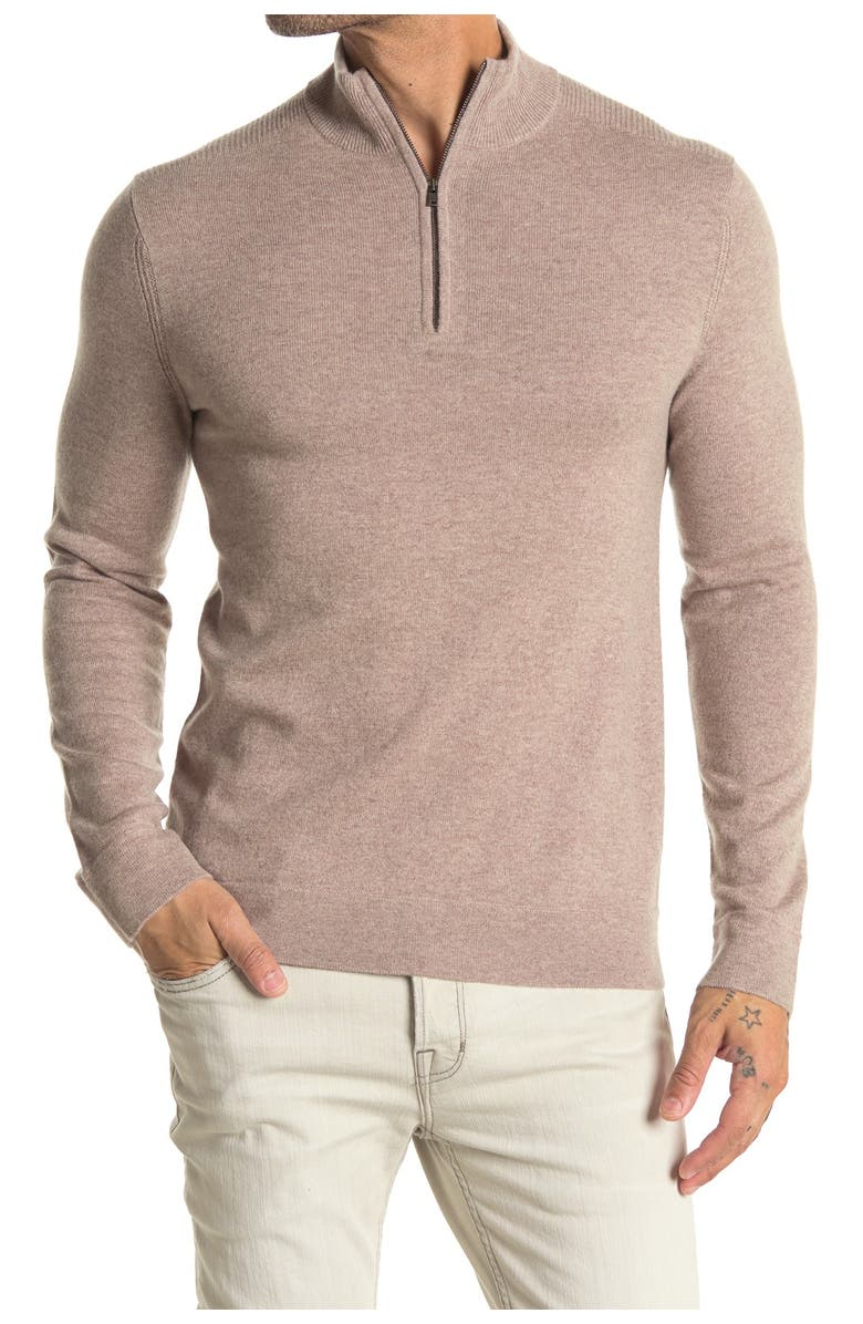 THEORY Donners Mock Neck Cashmere Sweater, Main, color, TOAST HEATHER
