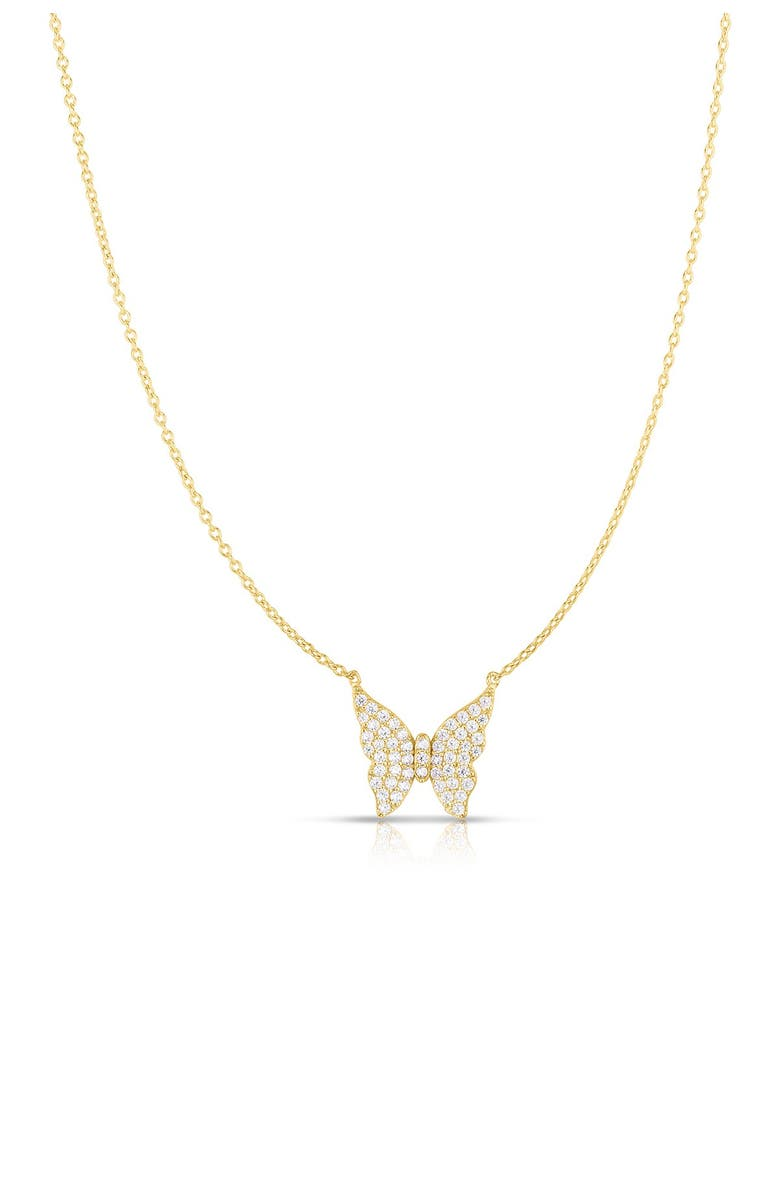 SPHERA MILANO 14K Gold Plated Sterling Silver CZ Butterfly Necklace, Main, color, YELLOW GOLD