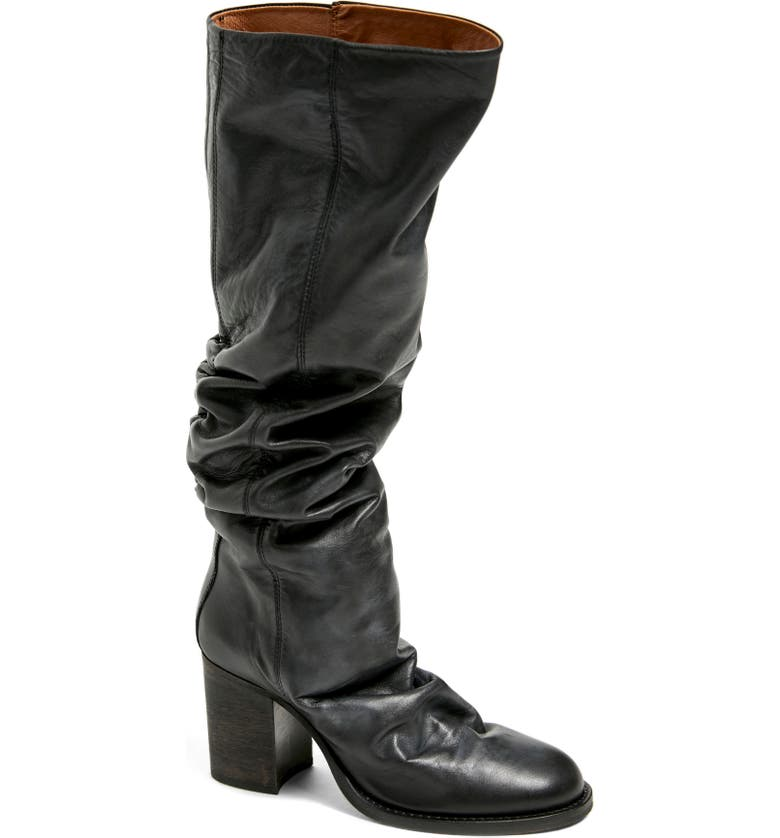 FREE PEOPLE Elle Slouch Knee High Boot, Main, color, BLACK LEATHER