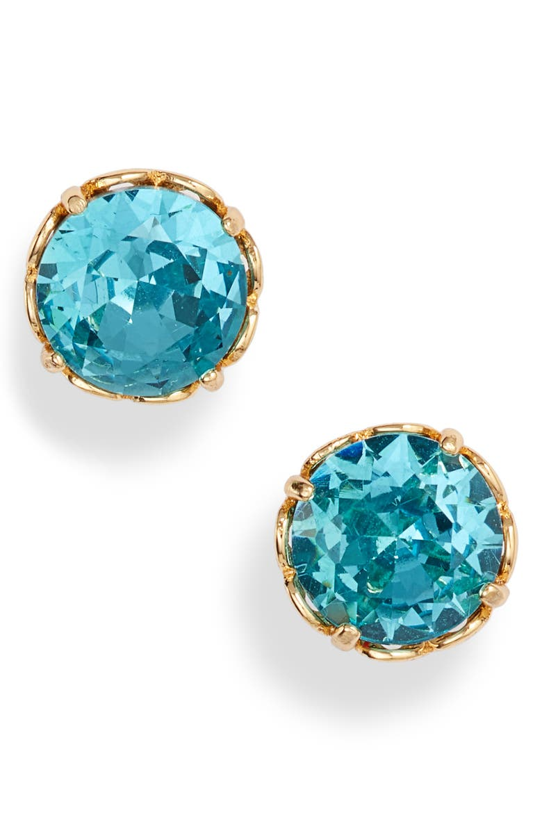 KATE SPADE NEW YORK that sparkle round stud earrings, Main, color, AQUAMARINE