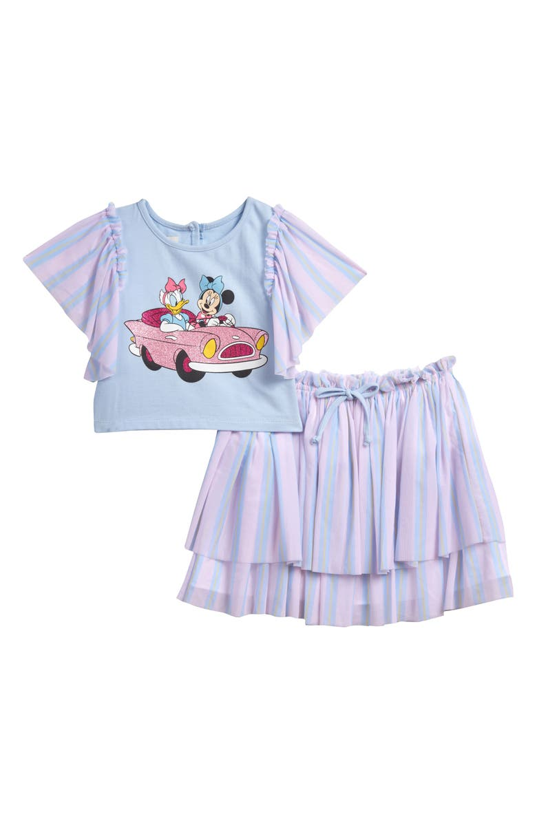 PIPPA & JULIE x Disney Minnie Mouse & Daisy Duck Tee & Skirt Set, Main, color, BLUE/ PINK