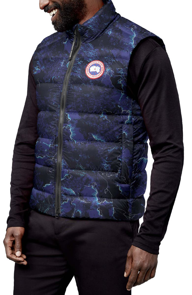 CANADA GOOSE Crofton Water Resistant Packable Quilted 750-Fill-Power Down Vest, Main, color, COASTLINES-ABLU