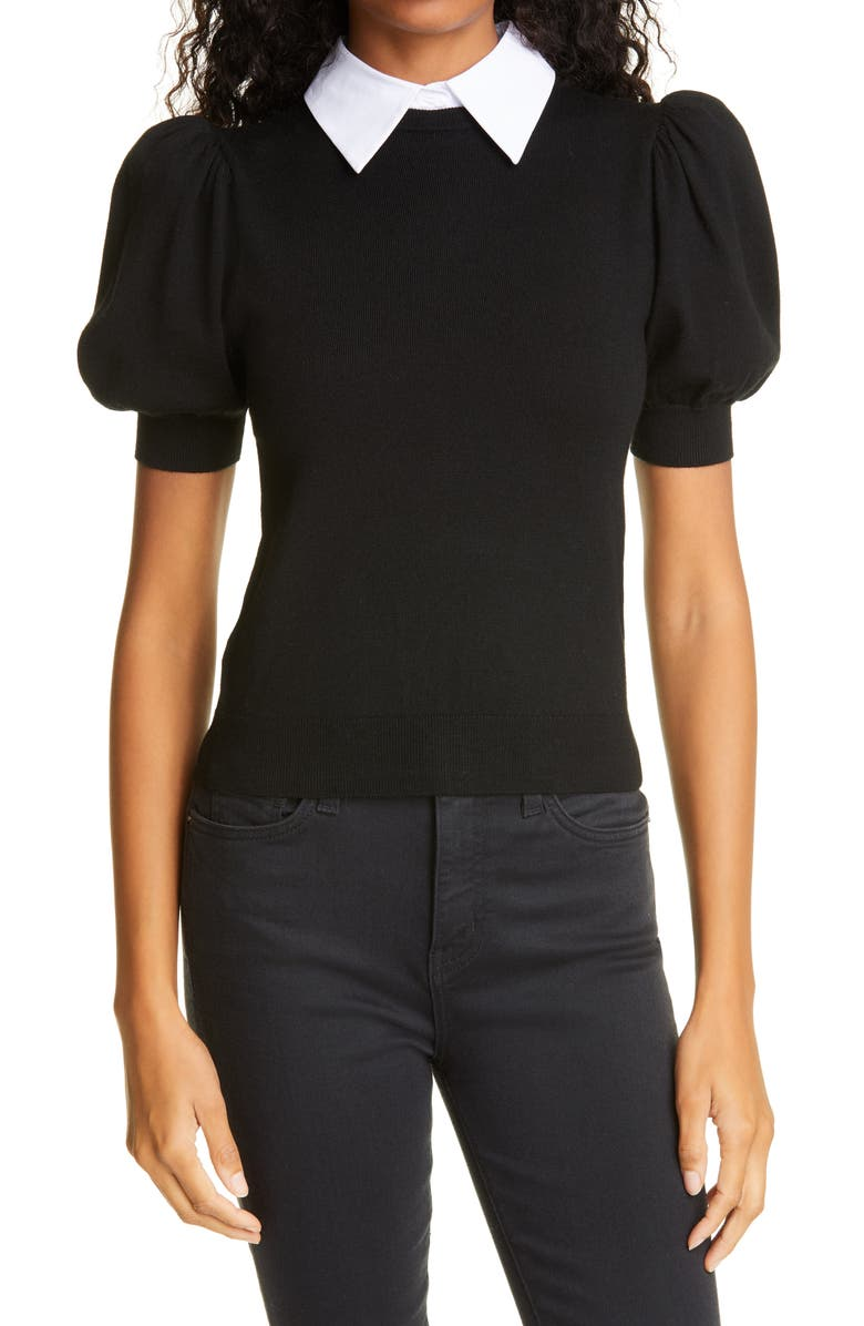ALICE + OLIVIA Chase Puff Sleeve Wool Blend Sweater with Removable Collar, Main, color, BLACK/ WHITE