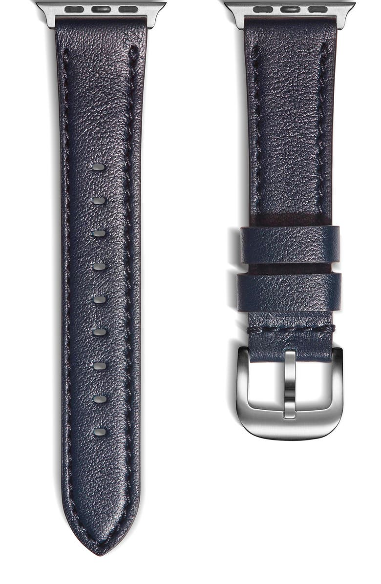 SHINOLA Leather Apple Watch<sup>®</sup> Strap, Main, color, NAVY