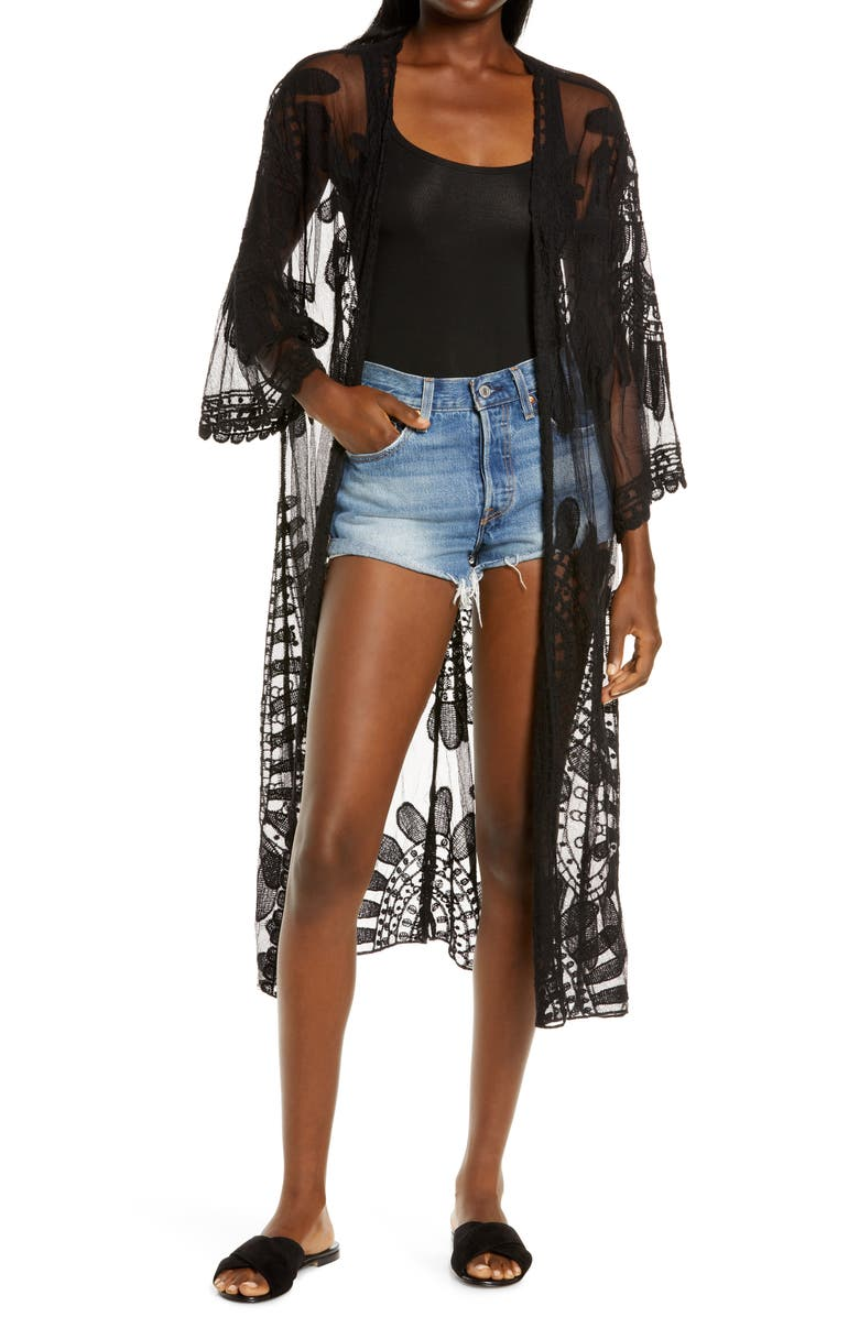 SOLE SOCIETY Lace Cover-Up, Main, color, 001